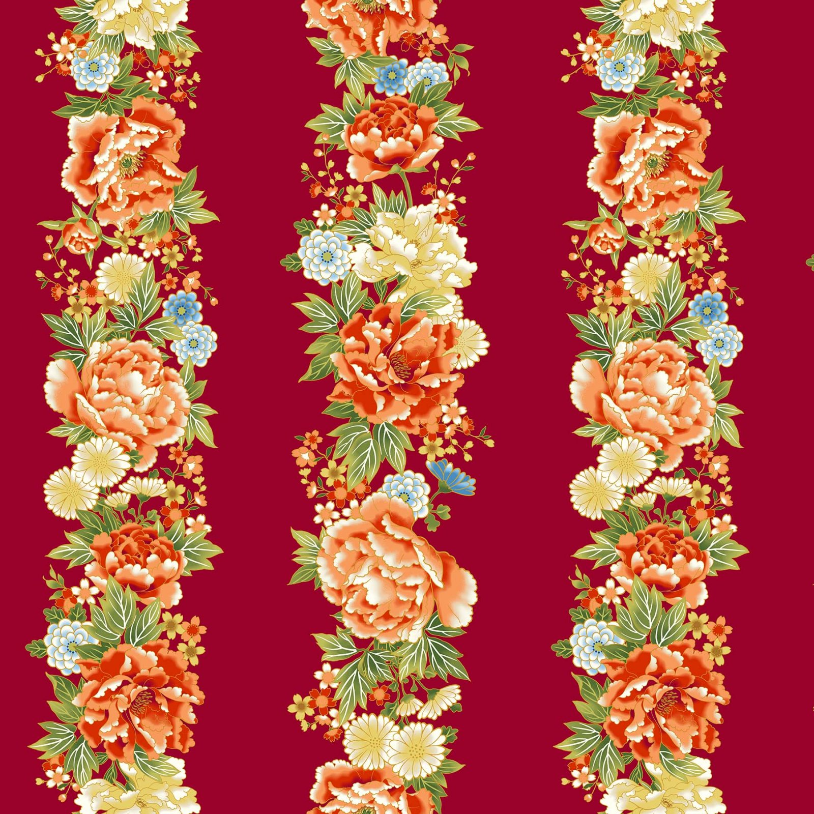 Northcott -Kyoto Garden 23271M 24 Red Multi	Kyoto Stripe