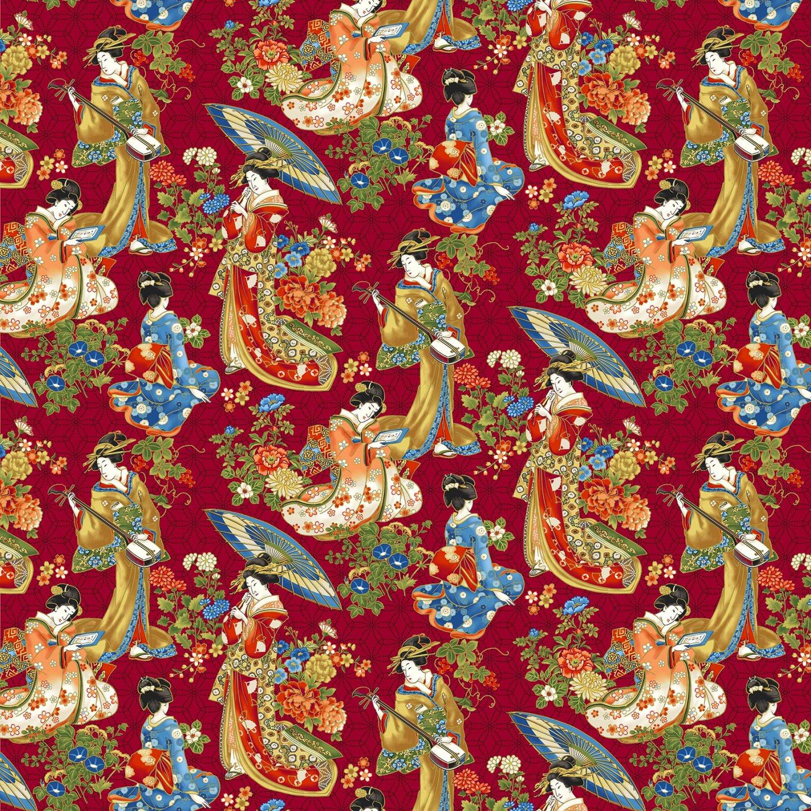 Northcott -Kyoto Garden 23272M 24 Red MultiGeisha