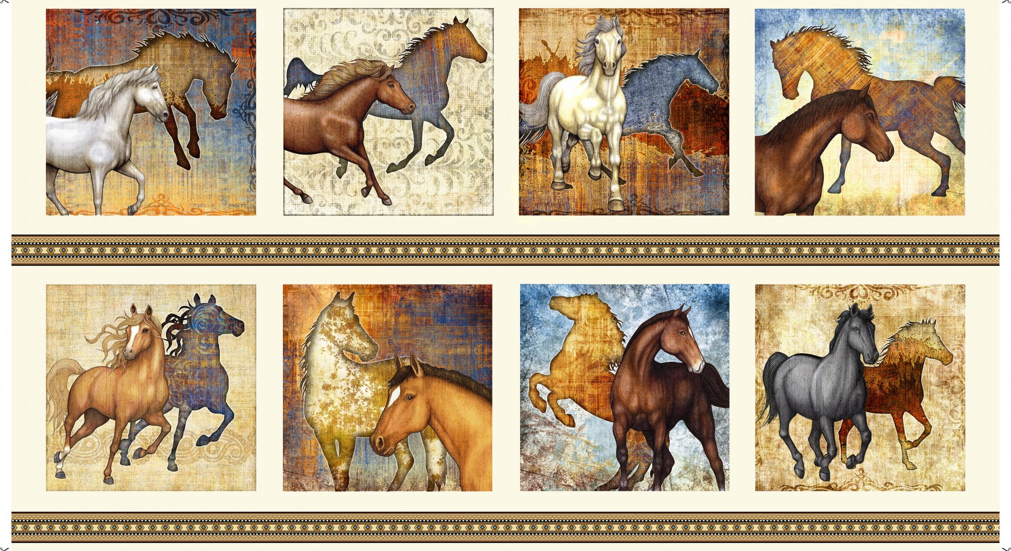 Quilting Treasures- Mustang Sunset 1649-26479-E