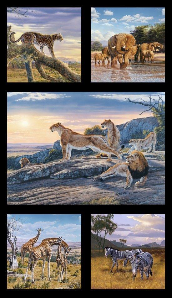 Elizabeth's Studio- African Animals 5014 Black Panel