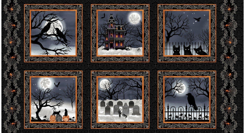 SPOOKY NIGHT/ PANEL 5728-93 Black/Orange