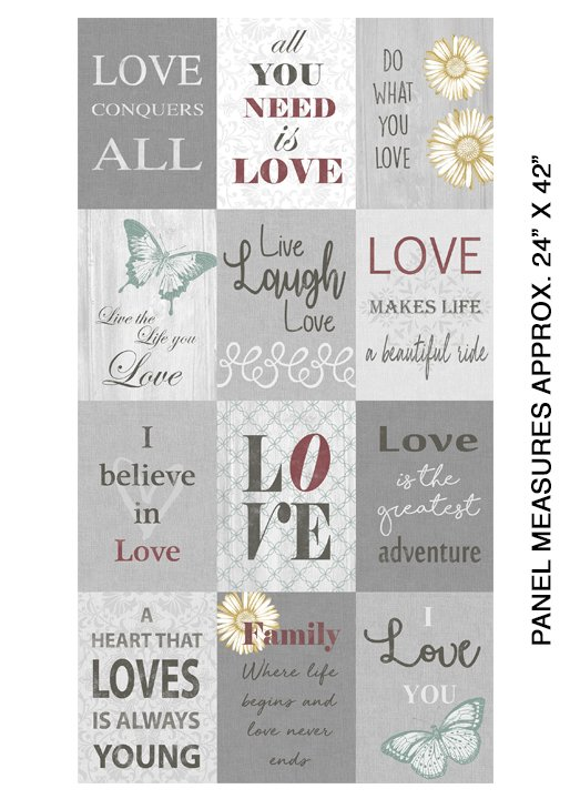 Contempo-Words to Live By-Love Panel Grey 07702 99