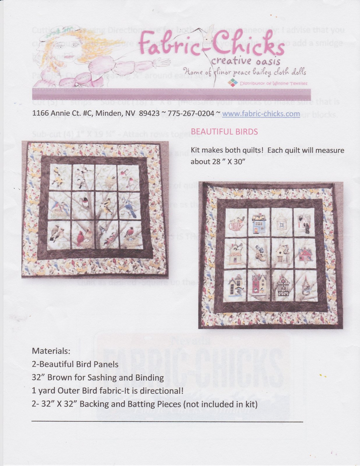 Fabric Chicks- Beautiful Birds Quilt Kit