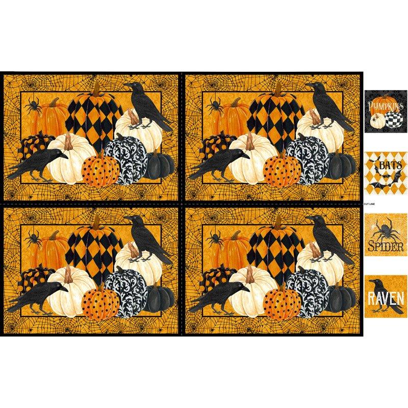 Northcott- Raven's Claw DP22878 54 Orange Digital Print