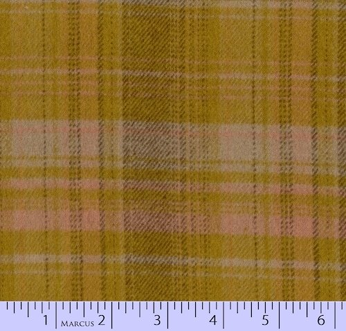 Marcus Brothers Textiles: Primo Plaids Flannel- Mustard/ Brown/ Pink Large Plaid - RO9-J238-0132