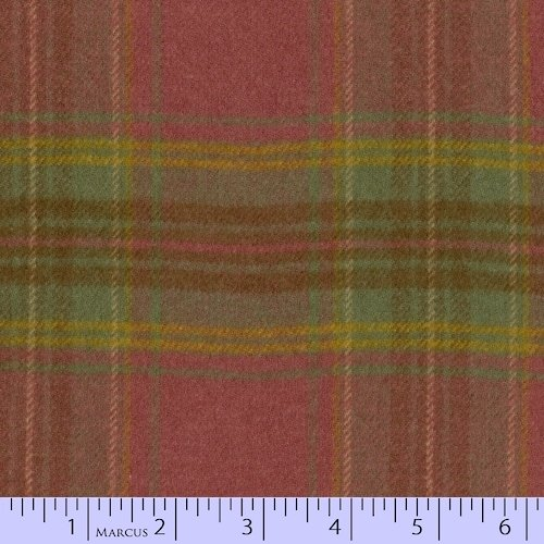 Marcus Brothers Textiles: Primo Plaids Flannel-Burgundy/ Green Large Plaid  - J240-0129