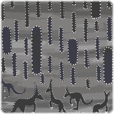 M&S Textiles Australia- Kangaroo in the Desert Rain Gray -KADGR Designed by Angelo Burgoyne Judda