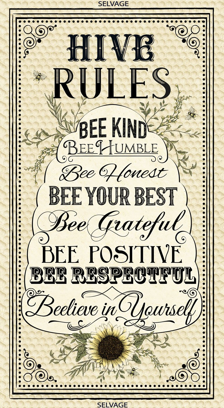 Timeless Treasures-BEE  C7170 24 Inch Hive Rules Panel