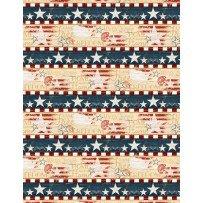 Wilmington Prints- Colors of Freedom 1828 82463 143 border print