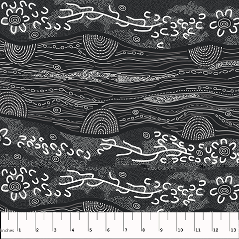 M&S Textiles Australia- Sandy Creek Black -SCRB Designed by Janat Long Nakamarra