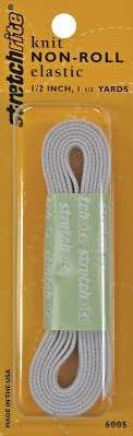 Non-Roll Knit Elastic 1/2 Wide 1-1/2 Yards-White
