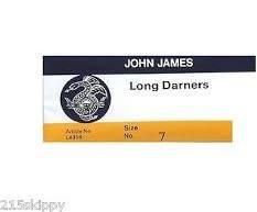 John James Long Darners - Size 7 - 25 Needles Per Package