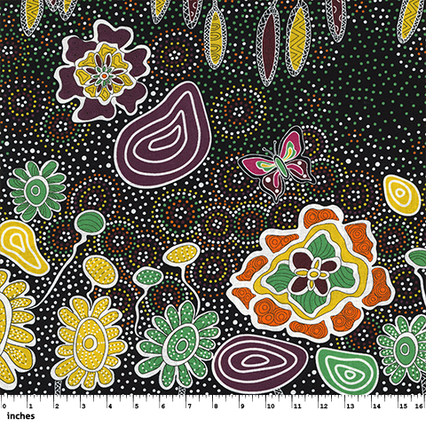 M & S Textiles Australia- Summertime Rainforest Black by Heather Kennedy SRFB