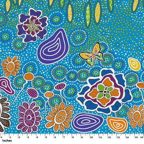 M & S Textiles Australia- Summertime Rainforest Blue by Heather Kennedy SRFBL