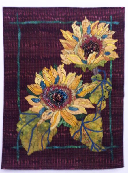on sunflower outline pin at stitching the freemotion quilt flower quilts a pillow river by daisy may