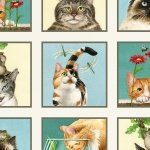Elizabeth's Studio Curious Cats 4322 Cream Panel