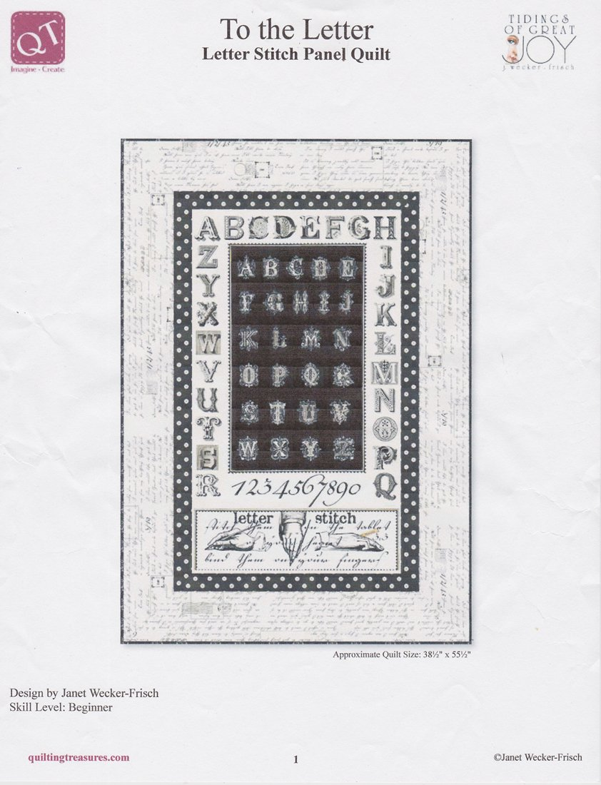 Quilting Treasures- To the Letter- Letter Stitch Panel Quilt Kit