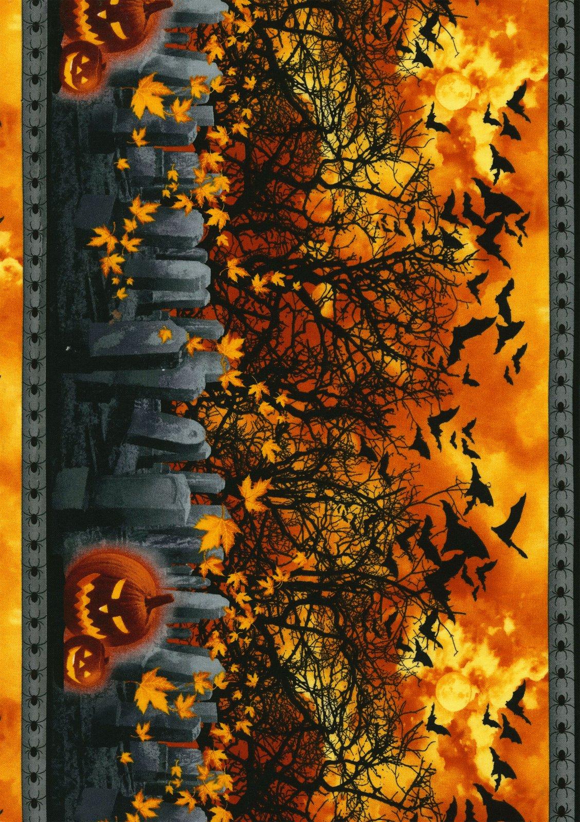 Timeless Treasures- Wicked-C3847 Graveyard Border Print