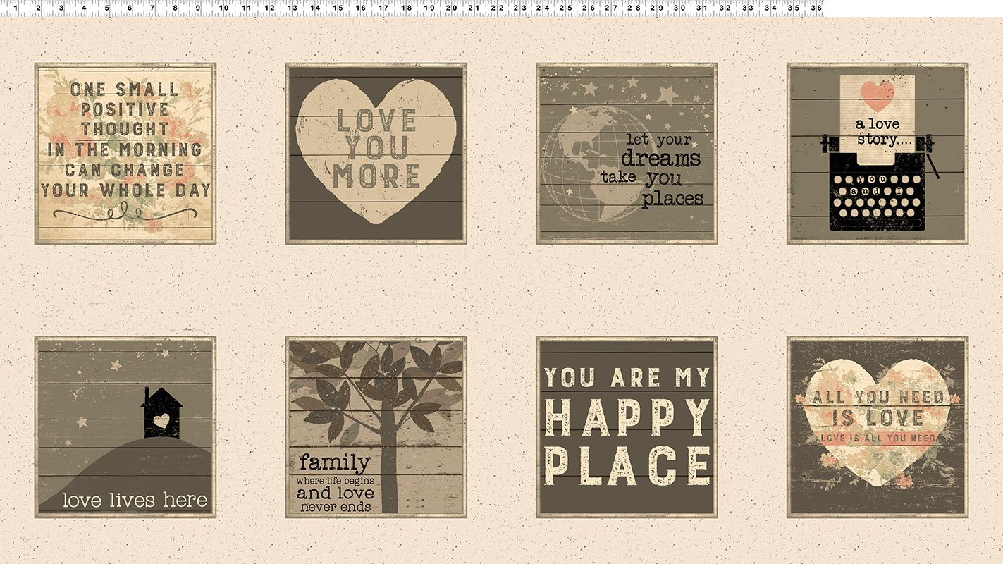 Clothworks- Love Lives Here Y2333-57 Cream Panel