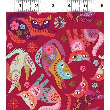 Clothworks-Stitch Cats Y2580-82 Red