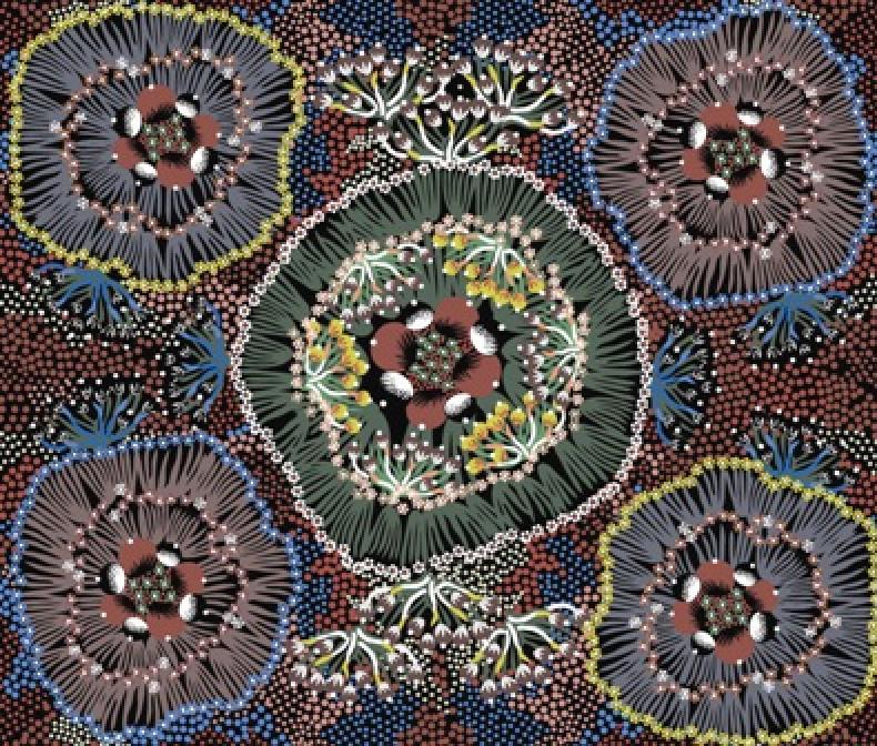 M&S Textiles- Australian- Bush Plum Black -BPB Designed by Polly N Wheeler