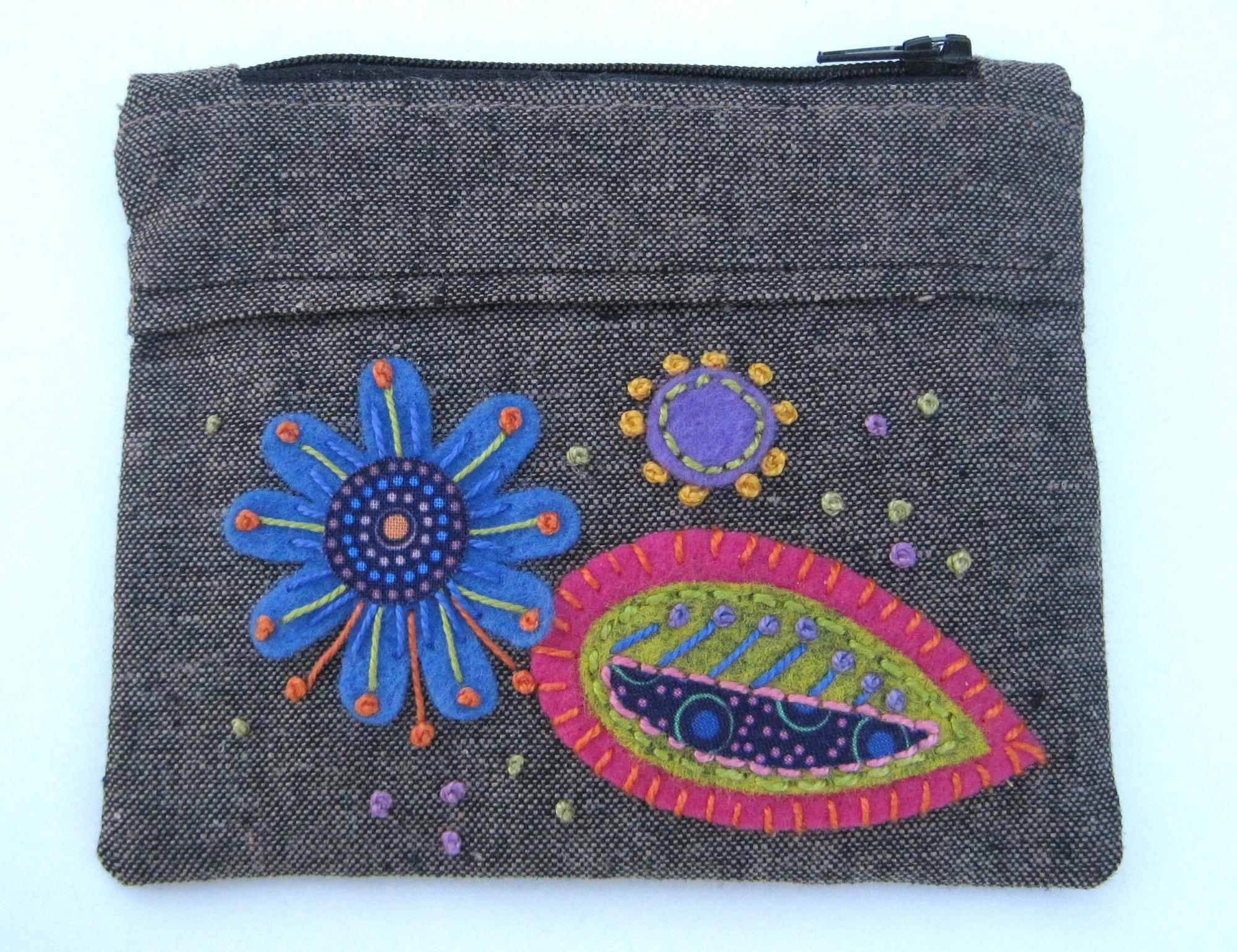 Wool felt introduction applique pouches