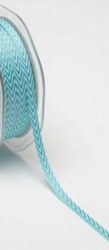 Twill Ribbon 1/4in - Turquoise Chevron Stripes