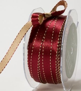 Satin Reversible Ribbon 3/8in - Burgundy/Gold