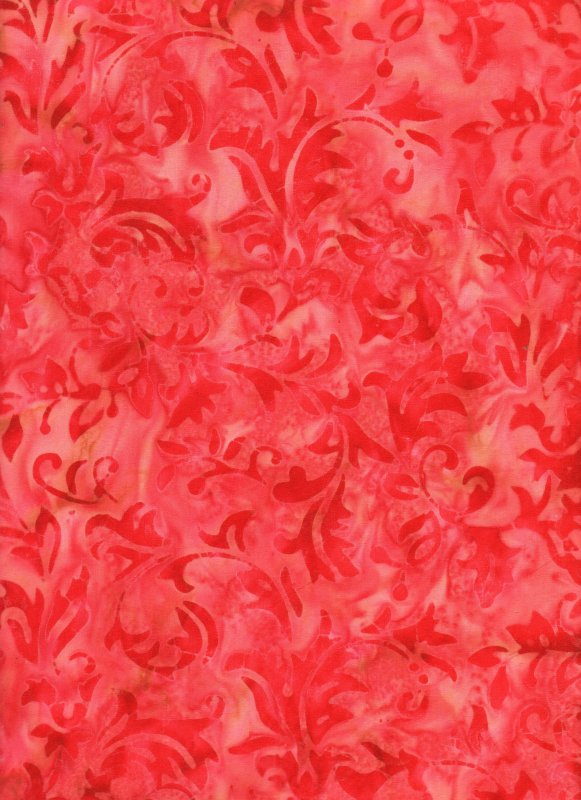 Red Leafy Scrolls on Mottled Red Background