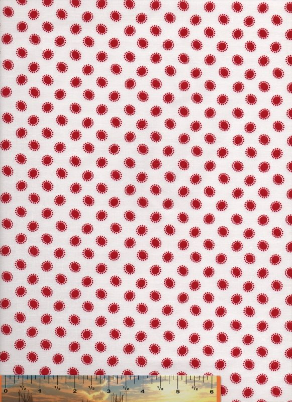 Knick-Knack Red Dotty Circles on White