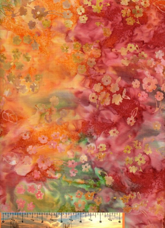 Orange/Rust Floral Design Batik