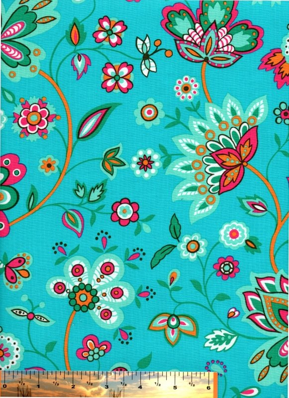 Sisely Jacobean Floral Print on Turquoise