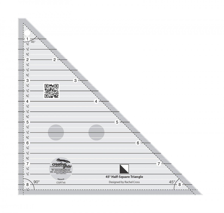 Creative Grids 45 Degree Half Square Triangle Ruler