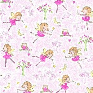 1 1/8 yd 0497-22-Pink Ballerinas Comfy Flannels