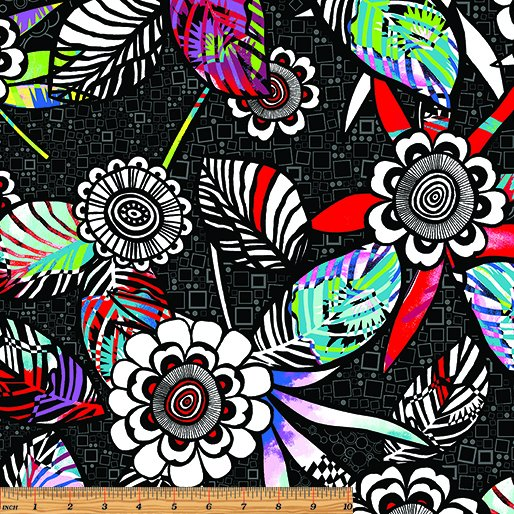 1764-12 Black Floral Anything Goes Benartex