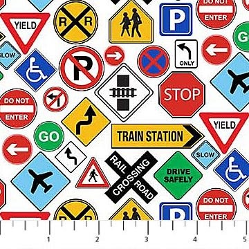 21144-10 White Traffic Signs Connector Playmat Coord Northcott