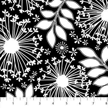 21278-99 Black White Floral Ebony & Ivory Northcott