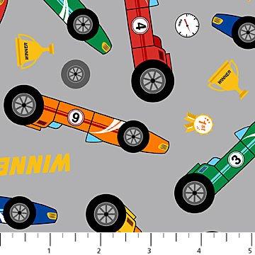 21473-92 Gray Race Cars Connector2 Playmat coordinate Northcott