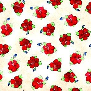22022-E Cream-Hibiscus Toss- Hungry Animal Alphabet - J Wecker Frisch