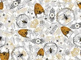 23311-K_QueenBee Bee_Motifs_French words Gray