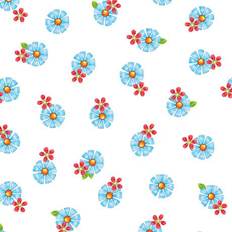 25942 ZB_White-Blue Tossed Flower Who Let the Hogs Out Quilting Treasures
