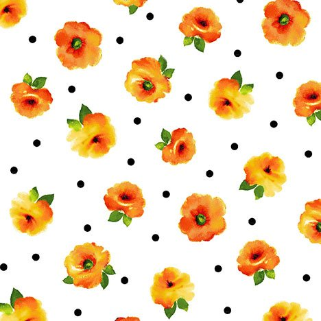 26319 ZO White_Orange Small Tossed Floral Brooke