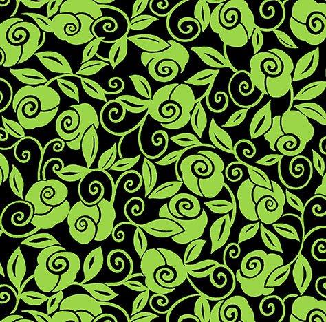 26320 JH Black_Lime Floral Scroll Brooke