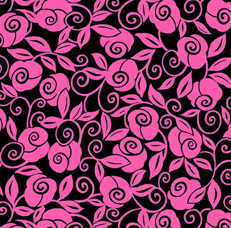26320 JP Black_Pink Floral Scroll Brooke