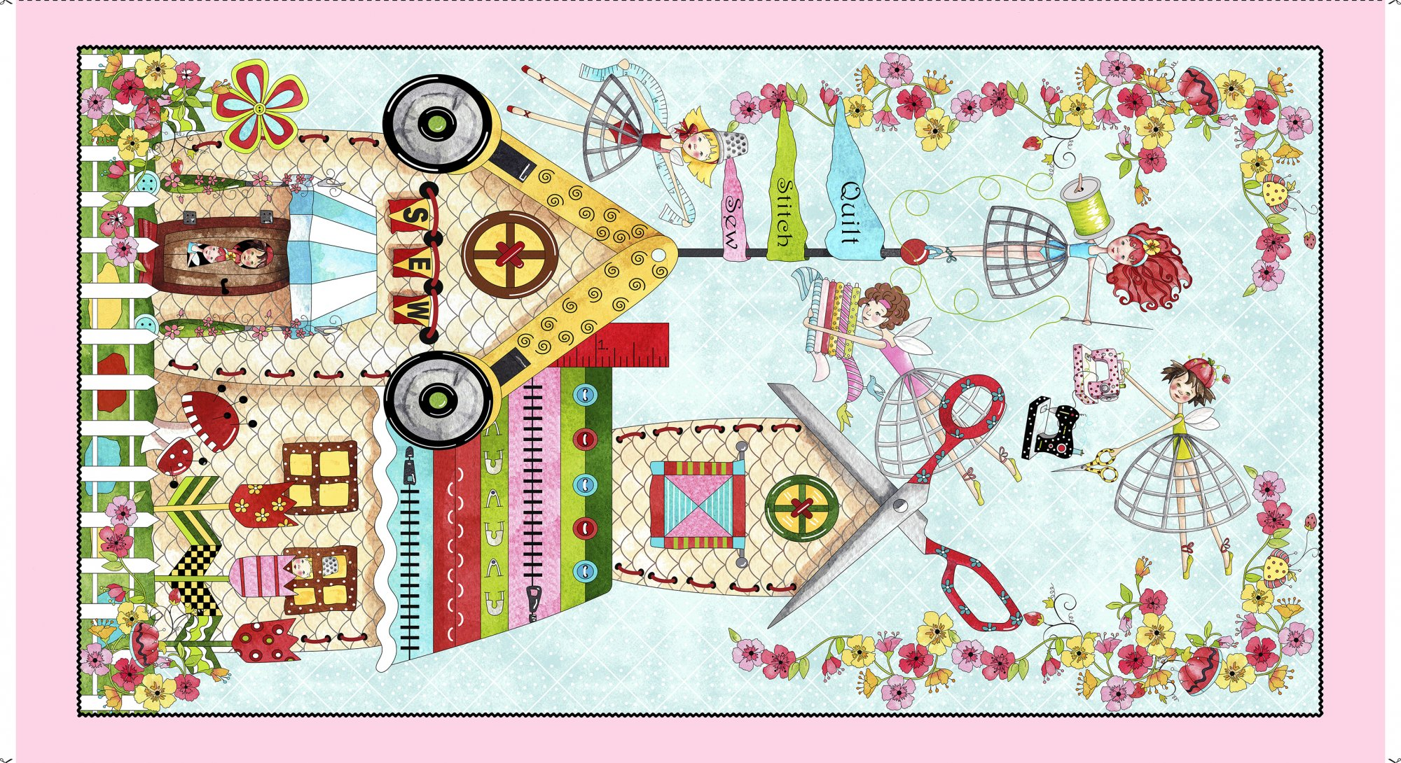 26422 X Multi The Quilted Cottage Panel