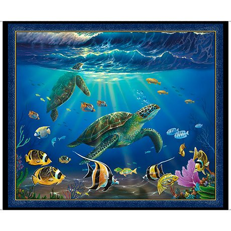 26589 B Blue Turtle Picture Patches 36 in Panel Artworks