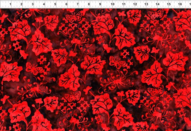 2GBC1-Dk Red Vine Floragraphix Batik 3 by In the Beginning