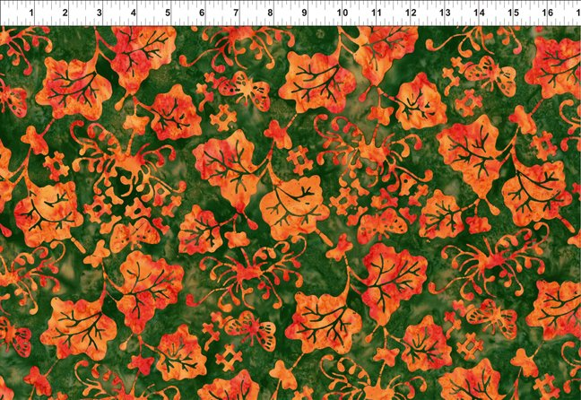 2GBC6 Orange Vine Floragraphix Batiks 3 In the Beginning