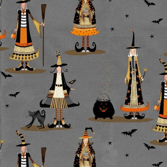 3705-90 Gray Allover Witch Witchy by Studioe