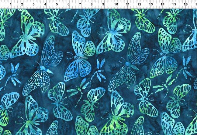 3GBC5-Indigo Butterflies - Floragraphix Batik 3 by In the Beginning